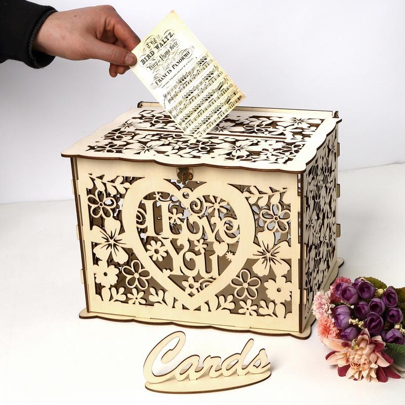 Vintage Wedding Card Box With Lock Baby Shower Decorations DIY ...
