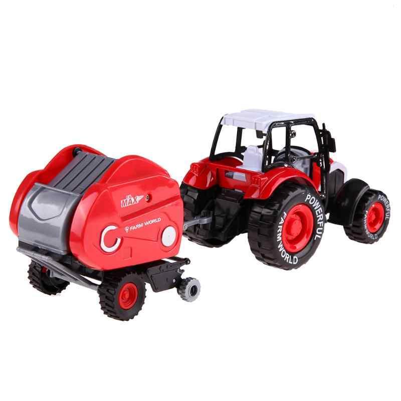 Teknik Paduan Traktor Pertanian Trailer Model Teknik Mobil Truk Panen Kendaraan Mainan dengan Musik Lampu Mundur Mobil 1:32