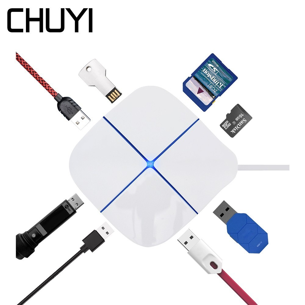 CHUYI USB 2.0 Hub 6 Ports With SD TF Card Reader High Speed USB Adapter With LED Light Splitter For Laptop PC Accessories MAC OS