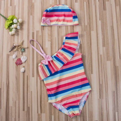 34b3f8d798 New Cute Kids Baby Girl Tutu Rainbow Striped Swim Romper Skew Collar  Bowknot Swimwear Ruffle Beachwear Swimsuit-in Children s One-Piece Suits  from Sports ...