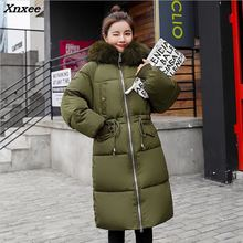 Thick 2018 Hot Sale Long Jacket Warm Winter Coat Fur Collar Parka Casual Outwear Hooded Coat Wadded Jacket Vestido Plus Size 3XL