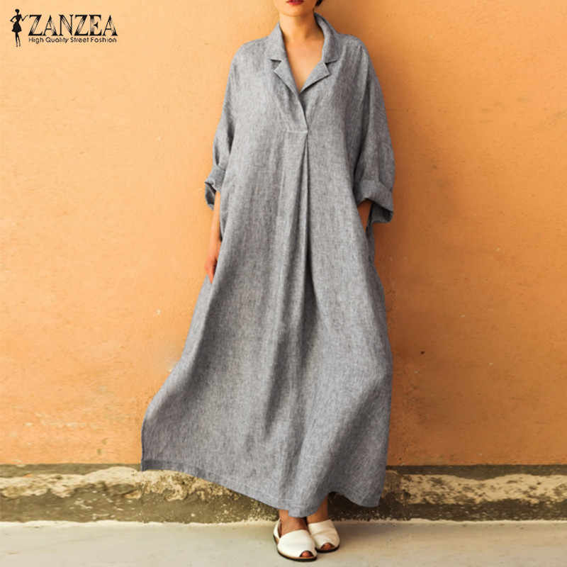 16f37a7db5d ZANZEA Plus Size Women Shirt Dress Female Plus Size Lapel Maxi Dresses  Button Down Women s Sundress