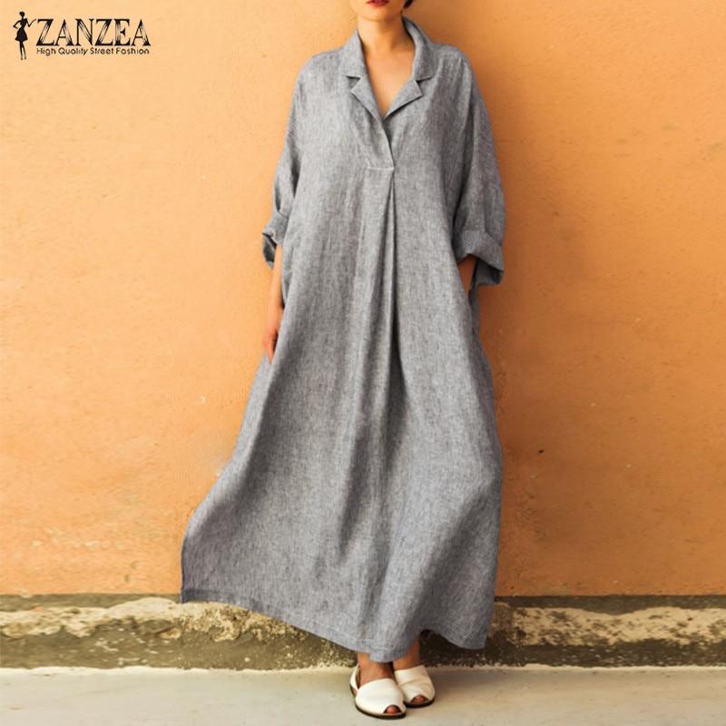 93b8d47b647 ZANZEA Plus Size Women Shirt Dress Female Plus Size Lapel Maxi Dresses  Button Down Women s Sundress