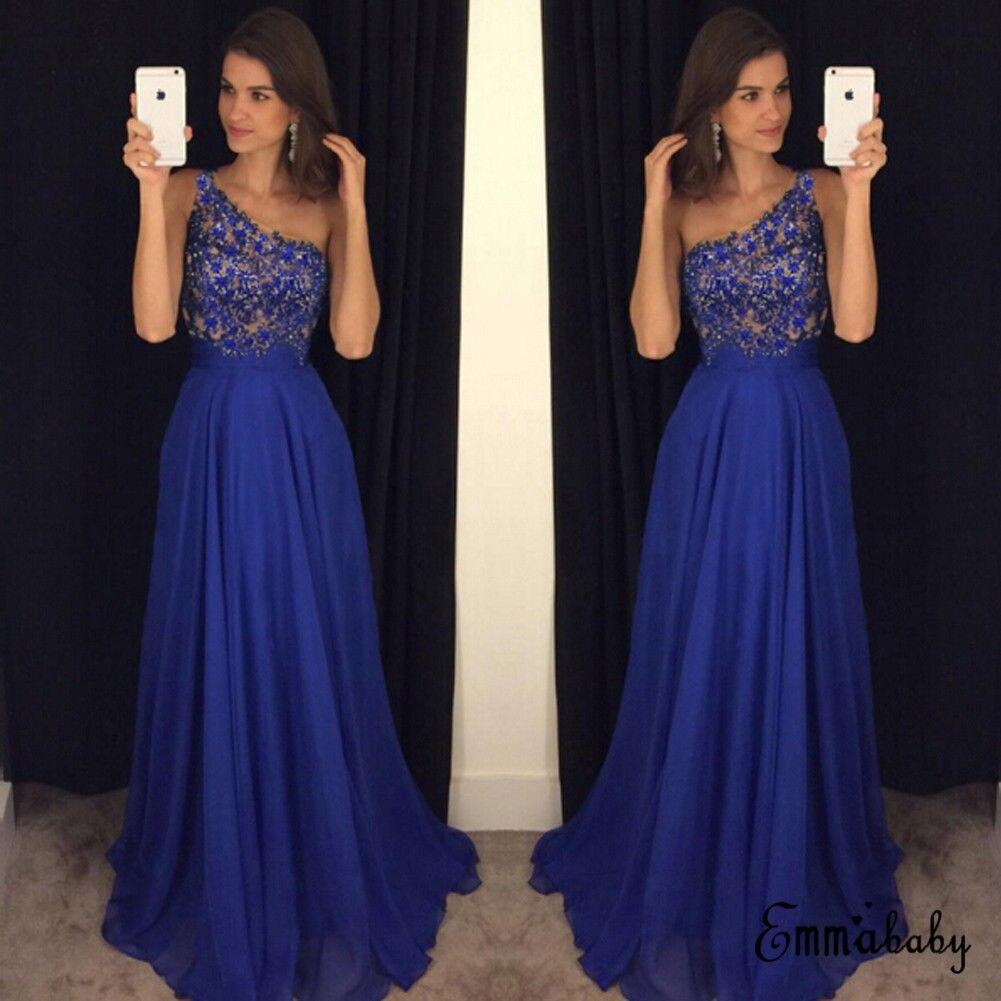 937fbbd3ee621 Elegant Hot Sexy Lace Royal Blue Sleeveless Women Dress Long Maxi ...