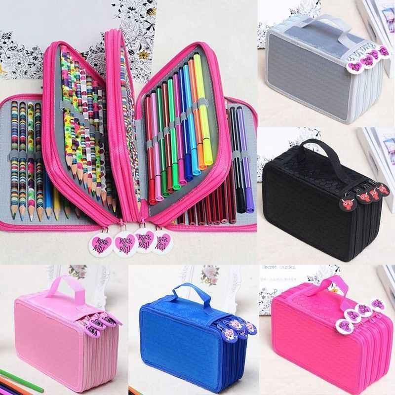 72 حامل مقلمة سعة كبيرة للفن أقلام ألوان مائية ملونة أكسفورد نسيج أقلام رصاص حقيبة صندوق مدرسة لوازم مكتبية