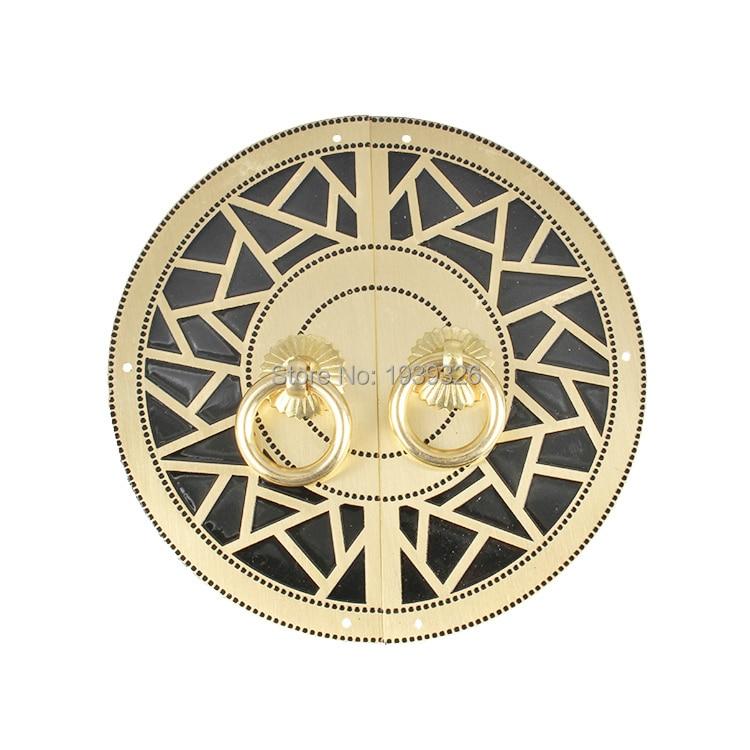 14cm 11cm Chinese Brass Round Handle Knobs Furniture Hardware Accessories Wardrobe Cupboard Cabinet Pull Handle & Corner Bracket