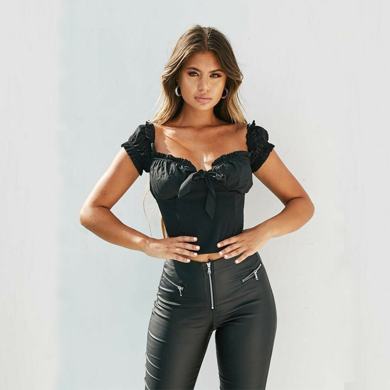 New Women Sexy Off Shoulder Casual Bralet   Tank     Top   T-Shirt Crop Cami   Tops   Ruffled Solid Women Camis
