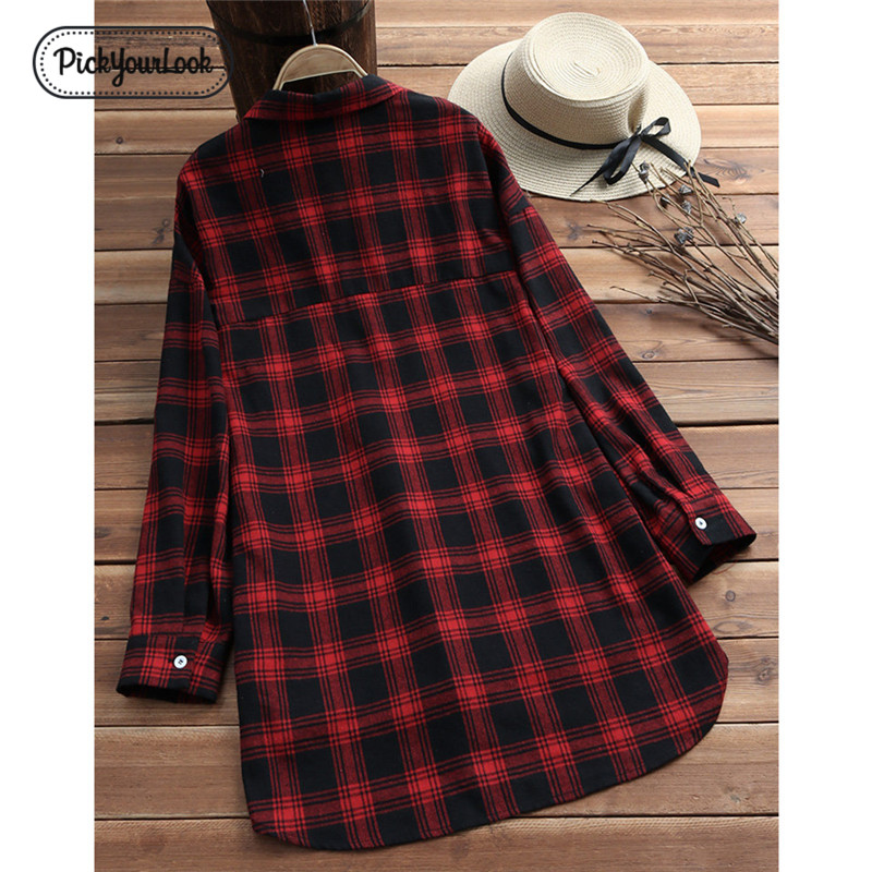 Pickyourlook Women Blouses And Shirt Long Sleeve Autumn Plaid Pocket Female Tunic Tops Shirt Fashion Turn-Down Chemise Blouses