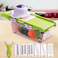Multifunctional Vegetable Food Cutter With With a Hand Protector Fruit Slicer Chopper With 6 Blades Peeler Portable Kitchen Tool
