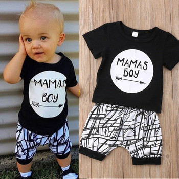 0-24M New Born Baby Clothes 2pcs Set Black Letter Print Tshirt For Boys White Stripe Pants Legging Baby Boys Clothes Newborn Set