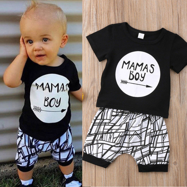 0-24 M החדש נולד תינוק בגדי 2 pcs סט שחור מכתב הדפסת חולצת טי בני לבן פס מכנסיים צועד תינוק בני בגדי יילוד סט