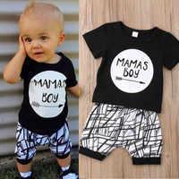 0-24 monate Baby Jungen Kleidung Set Schwarz Brief Drucken T-shirt Für Jungen Weiß Gestreiften Hosen Leggings Baby Jungen kleidung Neugeborenen Set