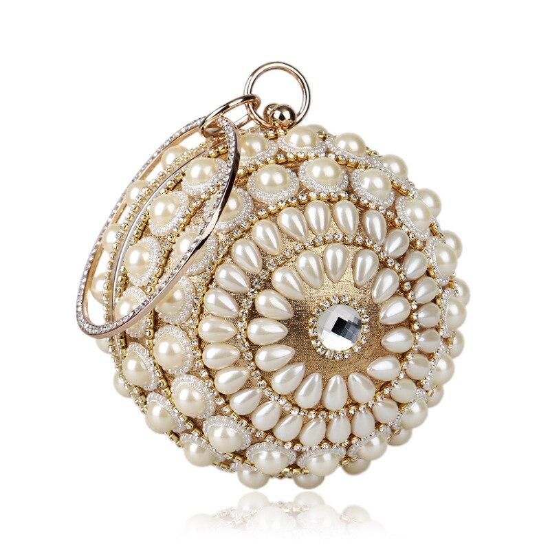Clutch-Bags Pearl-Beads Beige Black Wedding-Bags Handmade Women's Beaded Quality-Assurance