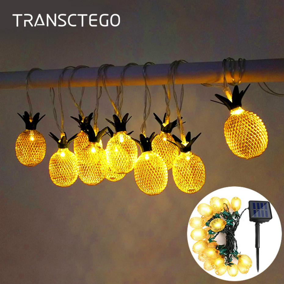 LED Pineapple Solar String Light Waterproof Solar Powered Hanging Light For Christmas Outdoor Garden Lamp Decoration Party Lamp