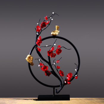 Creative Flower Bird Iron Round Shape Figurines Home Table Accessories Modern Livingroom Desktop Ornament Zen Mascot Decoration