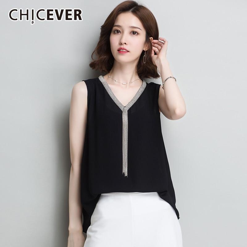 Блузка CHICEVER Женская, белая, с треугольным вырезом, без рукавов