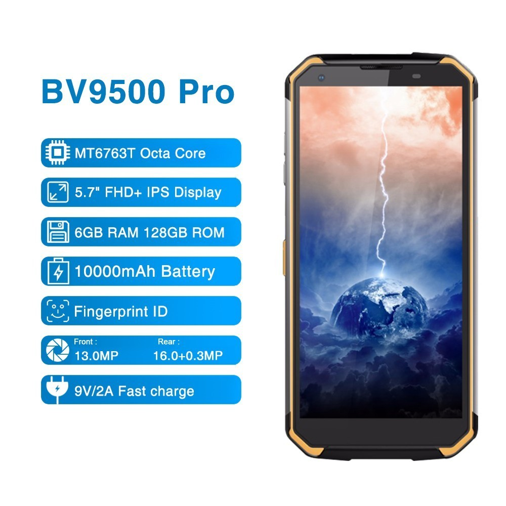 Blackview BV9500 Pro 5.718:9 FHD Waterproof Walkie Talkie Smartphone MTK6763T Octa Core 6GB RAM 128GB ROM NFC Wireless Charge image