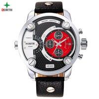 NORTH Brand Watch Men Luxury Steel Genuine Leather Male Clock 30M Waterproof Relogio Masculino Sport Wristwatch