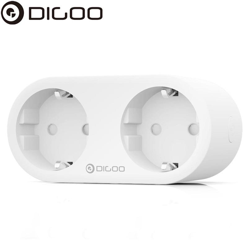 DIGOO NX-SP202 Dual de la UE Plug inteligente Socket WIFI individuales controlable Monitor de energía Control remoto tiempo casa inteligente salida