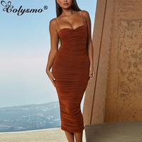 Colysmo Double Layers Summer Dress Women Long Dress Ruched Bodycon Dresses Woman Party Night Ladies Elegant Midi Dress 2019 New