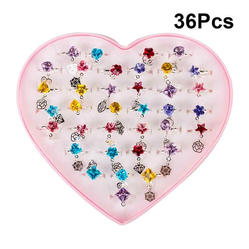 36pcs Children Toys Rings Creative Diamond Pretend Play Princess Box Mixed Pattern Accessory Rings for Party Favors Girls