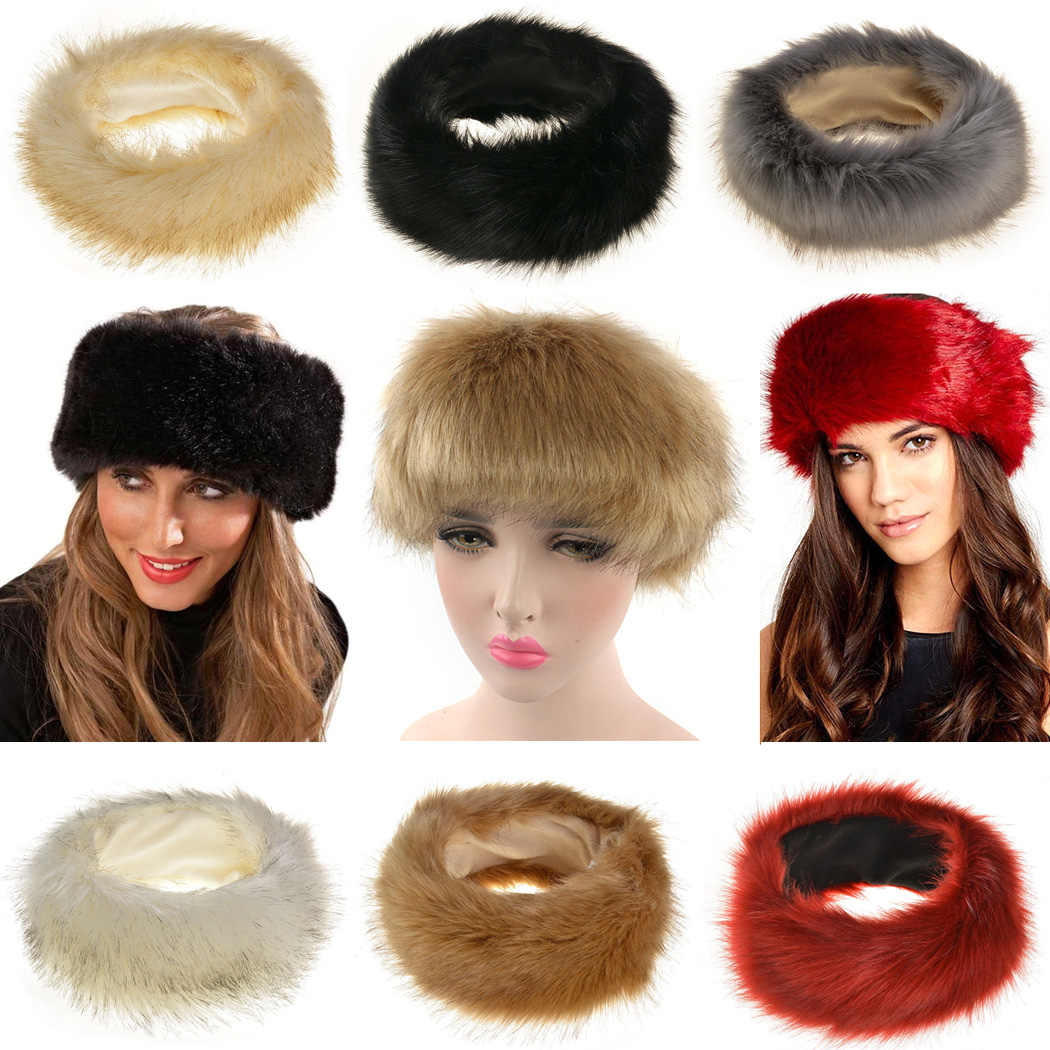 161cdab900f ... Women Faux Fox Fur Hat Winter Thick Warm Fluffy Fur Caps Headband Ear  Warmer Russian Hats ...