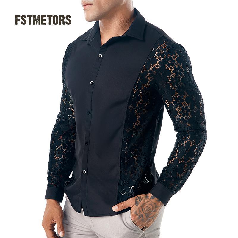 2018 Fstmetors Autumn Winter Style Arms All Lace Pure Color Fashion Design Men's Long Sleeved Lapel Shirts Men's Shirts 100% Original