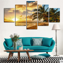 Canvas Wall Art Picture Modern Frame Living Room 5 Pieces Sunset Sea Beach Coconut Tree Landscape Decor HD Print Poster Painting