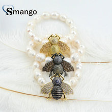 5Pieces 2019 New Arrival!  Women Pearl Insect CZ Prong Setting Bracelet 3 Plating Colors,Can Mix