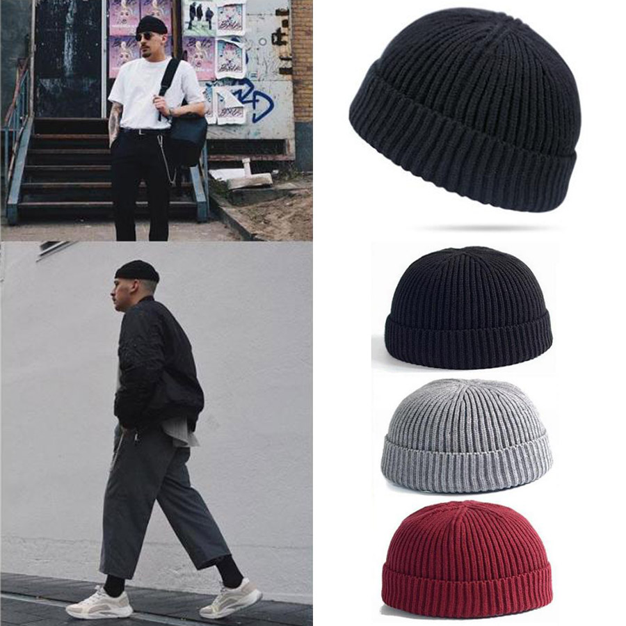 Men Knit Hat Beanie Skullcap Sailor Cap Cuff Brimless Black Vintage Fashion Chic