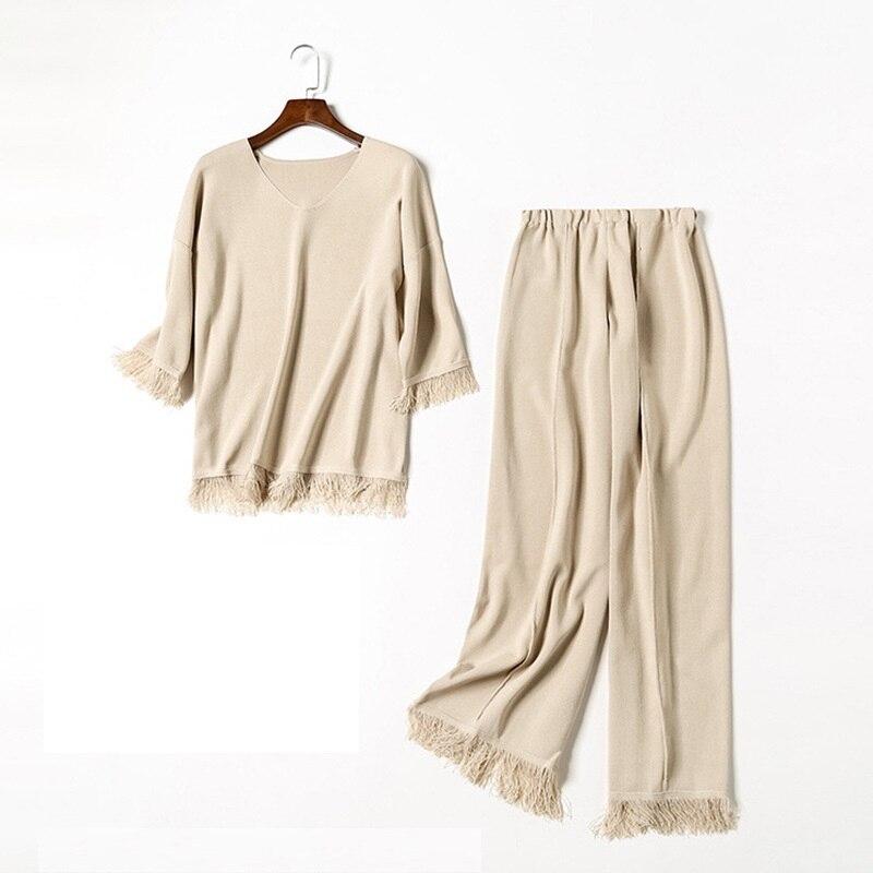 L'automne Cinq De Large En Gland Femmes Mode Ensemble Mousseline Pantalon Manches point Neuf Décontracté Accueil Bas Début Nouvelle Chemise Personnalité 0wqBxF8