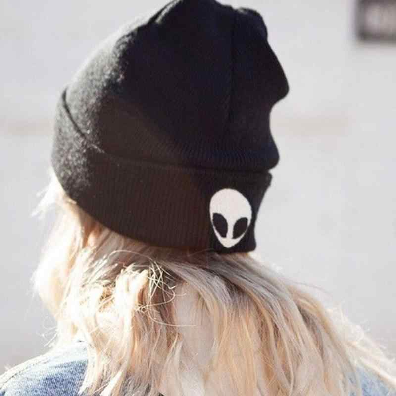 9b09a9d7110 2018 Winter Woman Warm Hats Alien Embroidered Street Beanies Knit Hat  Toucas Bonnet Hats Man Caps