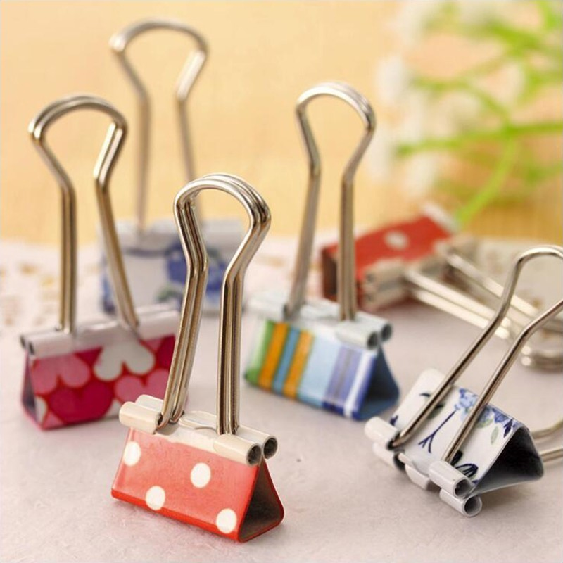 Japanese Small Fresh Print Long Tail Colored Clip Metal Material Office Stationery And School Supplies Binder Clip 5PCS/Bag