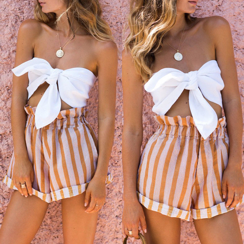 Fashionable Women's Casual Off Shoulder   Tank     Top   Backless Short Crop   Tops   Shirt Vest Blouse