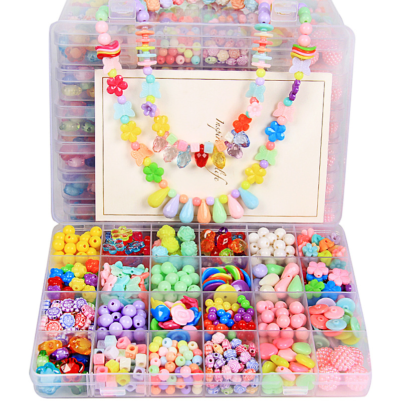 24 Grid Creative DIY Beads Toy With Whole Accessories Set Girls Handmade Art Craft Acrylic Bead Educational Toys For Children
