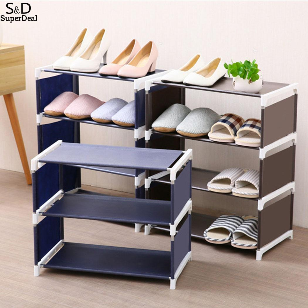 Shoe Rack Organizer 4 Layers Stand Rack Solid Shelves  Room Modern 3 Multi-layers Shoe Living Multi-functional Bedroom Storage