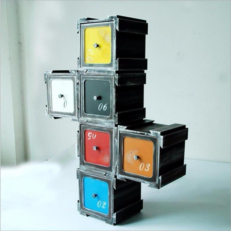 Nouvelles boîtes de rangement rétro en bois multi-fonction changement armoire pour la décoration de la maison combinaison tiroir rangement maquillage organisateur - 6