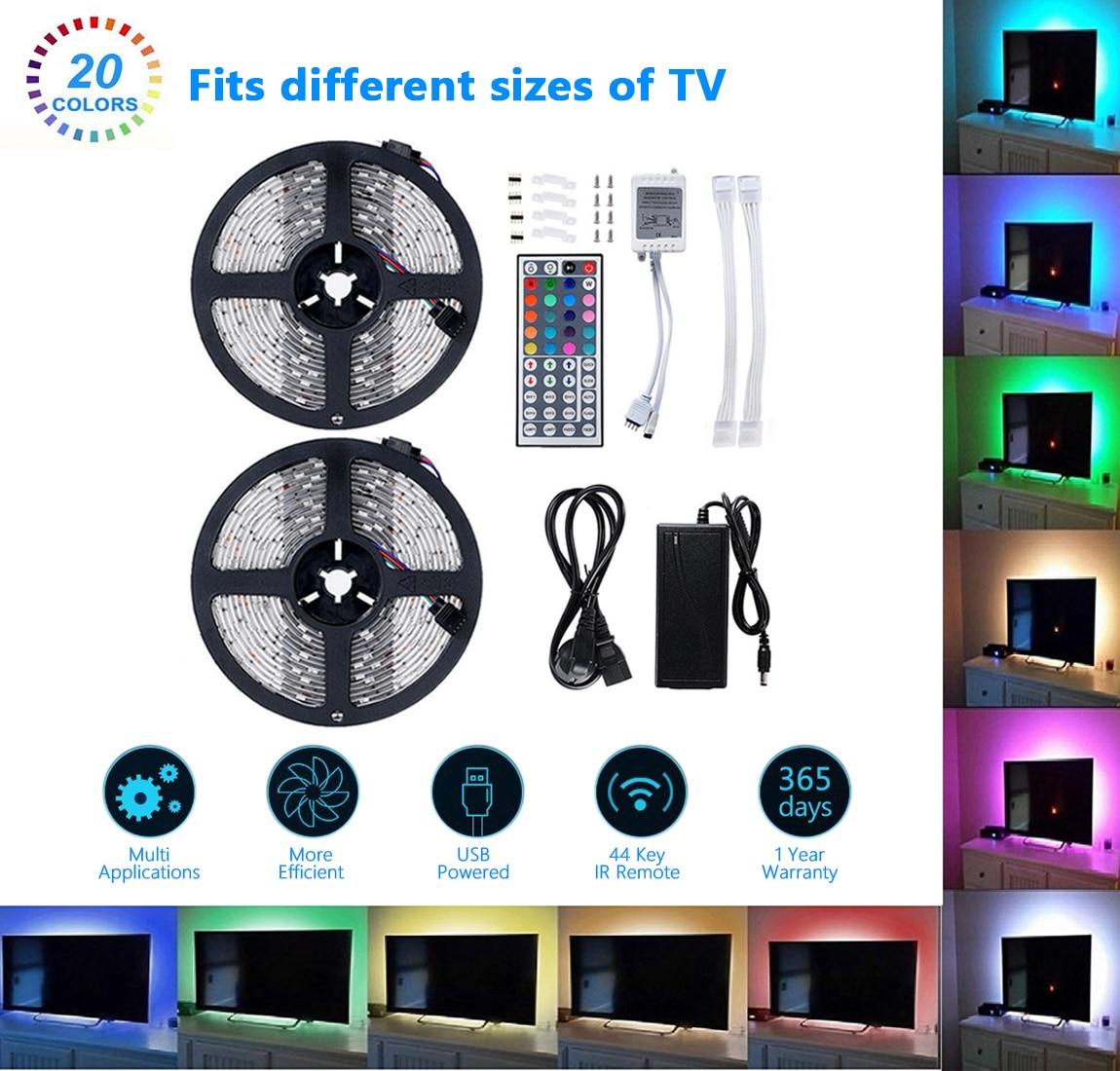 1 pc SMD 5050 RGB LED bande étanche 10 M 300 LED DC 12 V lumière LED bandes flexibles néon bande Monochrome UK/EU prise
