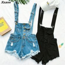 Fashion women clothing cotton denim playsuits strap rompers shorts casual loose overalls female
