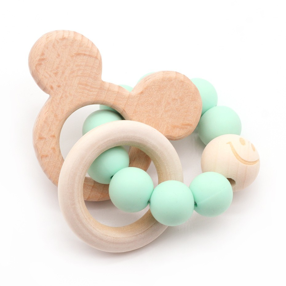 Image 2 - Wooden Teether Baby Bracelet Animal Shaped Jewelry Teething For Organic Wood Silicone Beads Baby Rattle Stroller Accessories Toy-in Baby Rattles & Mobiles from Toys & Hobbies