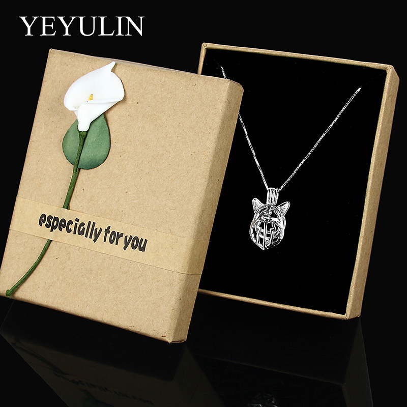Hot Sale 925 Sterling Silver Dog Pendant Necklace With Locket Pearl Cage Aromatherapy Diff