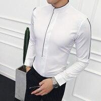 Рубашка с воротником-стойкой и контрастной окантовкой, с длинным рукавом, однотонная, дизайнерская, приталенная, с воротником-стойкой, Camisa ...