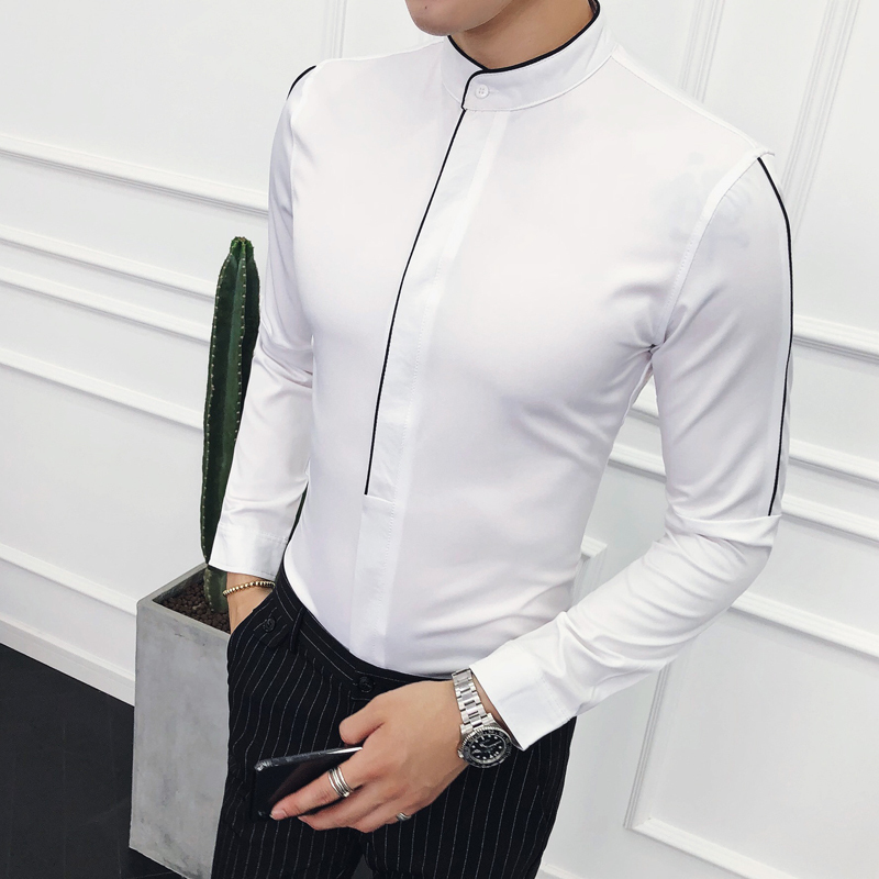 Contrast Piping Stand Collar Shirt Long Sleeve Solid Designer Madarin Collar Slim Fit Camisa Social Masculina Camicie Uomo