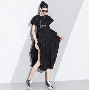 Image 5 - LANMERM 2020 Spring Summer Short Sleeve Asmmetrical High Waist High Vent Dress For Women Female Black White Cloth Vestido WD712