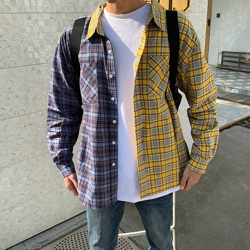 2019 Spring Cotton Clothes New Pattern Fashion Men's Wear Han Lattice Spelling Color Long Sleeve Shirt streetwear Preppy Style