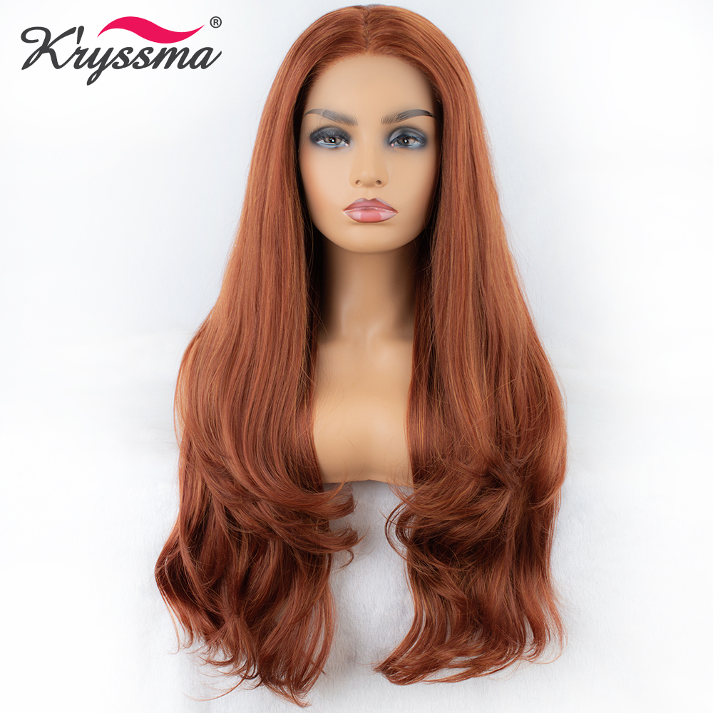 Long Copper Red Synthetic Lace Front Wig Right Part Orange Wavy Wigs for Women Glueless Natural