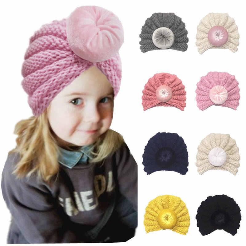 10 สีเด็กวัยหัดเดินเด็กทารกเด็กทารกเด็กหญิงถักหมวก Beanie ทารกฤดูหนาว Warm สี Turban กำมะหยี่หมวกอุปกรณ์เสริม