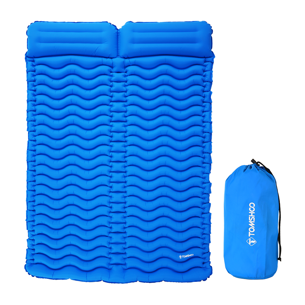 TOMSHOO 2 Person Inflatable Camping Mat With Pillow Picnic Mat Beach Blanket Mattress Outdoor Double Sleeping