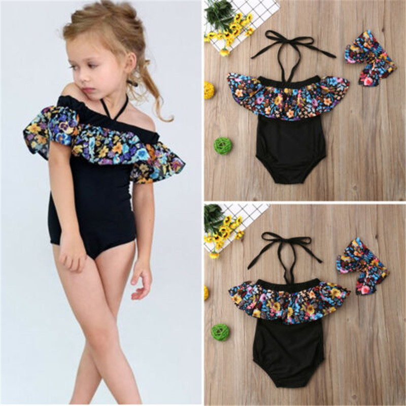 1-5T Children Swimsuit Ruffle Sleeve One Piece Swimsuits For Girls Bodysuit Headband Baby Girl Bathing Suit Girls Swimsuit Set