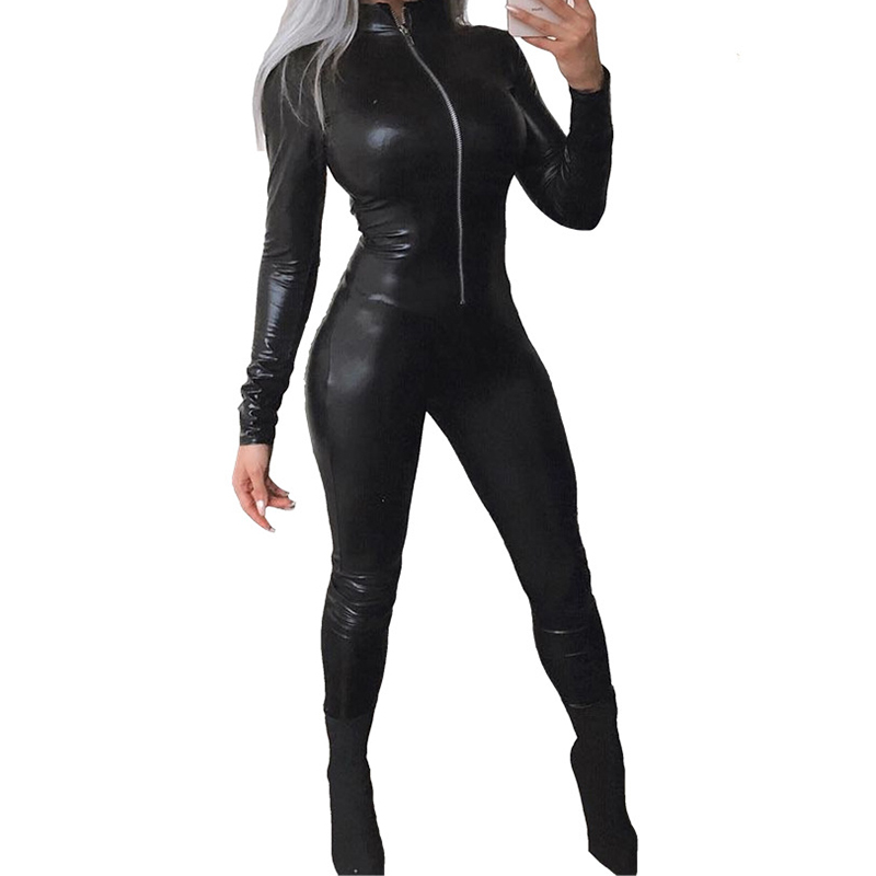 Fashion Black PU Leather Rompers Jumpsuit Women Sexy Bandage Long Jumpsuit Party Nightclub One Piece Pants Overalls Zipper Front